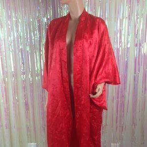 Vtg Red Geisha kimono long sleeves red asian NG89